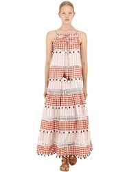 Dodo Bar Or Cotton Jacquard And Lace Dress W Tassels Red Multi