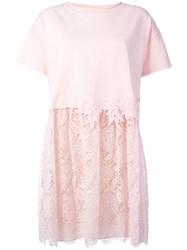 P.A.R.O.S.H. Lace Detail T Shirt Dress Pink Purple
