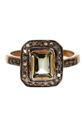 Gold Vermeil Diamond And Green Tourmaline Ring