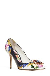 Dolce And Gabbana Women's Print Pump Navy White Floral