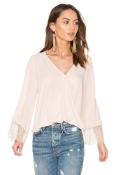Eight Sixty Wrap Front Bell Sleeve Lace Top Blush