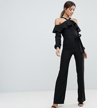 Vesper Frill Overlay Jumpsuit With Tie Detail Black