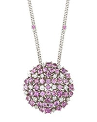 Roberto Coin 18K Pink Sapphire And White Diamond Cluster Pendant Necklace