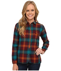 Woolrich Checkerberry Flannel Shirt Deep Teal Ombre Women's Clothing Multi