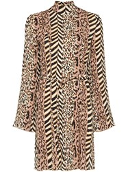 Nanushka Animal Print Mini Dress Brown
