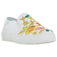 Dune Evanni Embroidered Slip On Trainers White