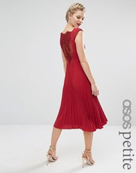 Asos Petite Wedding Lace And Pleat Back Midi Dress Wine Red