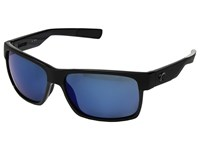 Costa Half Moon Shiny Black Matte Black Frame Blue Mirror 580P Athletic Performance Sport Sunglasses