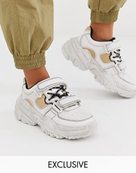 Bershka Chunky Sneakers With Contrast Stitch In White
