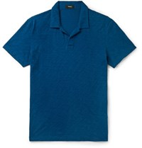 Theory Willem Nebulous Slim Fit Slub Cotton Polo Shirt Blue