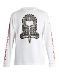 Marcelo Burlon Ponce Long Sleeved Cotton Jersey T Shirt White Multi