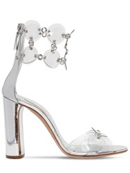 Casadei 100Mm Metallic Leather And Plexi Sandals Silver