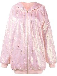 Ashish Oversized Sequin Hoodie Pink And Purple