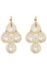 Gas Bijoux Songe Large 24Kt Gold And Silver Plated Chandelier Earrings Pink