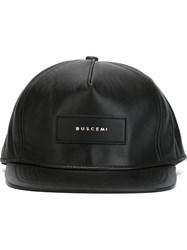 Buscemi Leather Baseball Cap Black