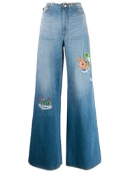 Love Moschino Wide Leg Jeans Blue