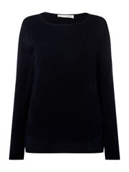 Oui Lace Insert Jumper Navy