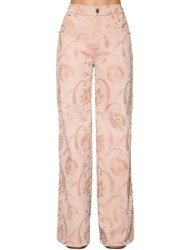 Etro Flared Cotton Denim Jacquard Jeans Pink