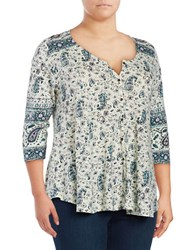 Lucky Brand Plus Paisley Print Button Front Top Yellow