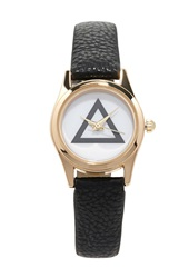 Forever 21 Faux Leather Geo Faced Watch Black Gold