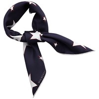 Mulberry Abstract Star Neckerchief Silk Crepe Square Scarf Midnight