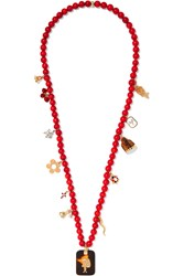 Carolina Bucci Recharmed Domenica 18 Karat Gold Multi Stone Necklace Coral
