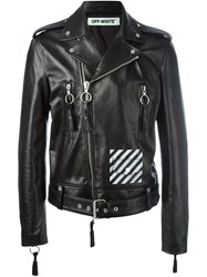 Off White Diagonal Stripe Biker Jacket Black