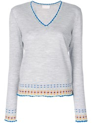 Peter Pilotto V Neck Embroidered Sweater Women Polyamide Wool L Grey