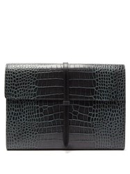 Smythson Crocodile Effect Leather Document Holder Green