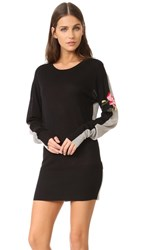 Sonia Rykiel By Colorblock Sweater Dress Black Grey