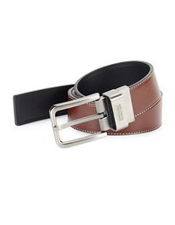 Kenneth Cole Reaction Square Buckle Leather Belt Brown Black