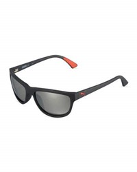 Puma Mirrored Oval Plastic Active Sunglasses Black