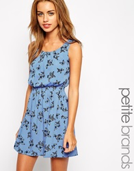 New Look Petite Butterfly Print Waisted Dress Blue