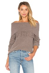 Central Park West Palermo Off Shoulder Fringe Sweater Brown