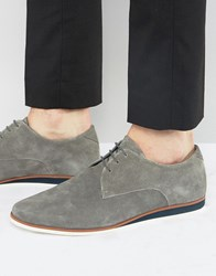 Asos Lace Up Derby Shoes In Grey Suede With Wedge Sole Grey