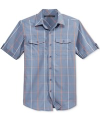 Sean John Men's Short Sleeve Windowpane Shirt Aviator Blue