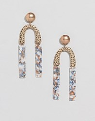 Asos Design Earrings In Hammered Metal And Resin Shape Design In Gold
