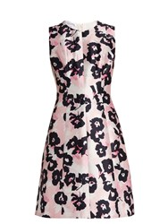 Oscar De La Renta Floral Print Silk And Cotton Blend Dress Light Pink