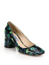 Prada Flower Print Patent Leather Block Heel Pumps Nero Emeraldo Petalo