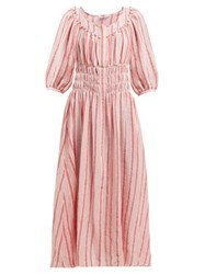 Three Graces London Arabella Striped Linen Blend Midi Dress Pink Stripe