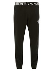 Versace Logo Embroidered Fleeceback Jersey Track Pants Black