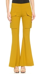 Acne Studios Mello Patch Pocket Flare Pants Mustard