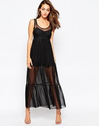 Oh My Love Maxi Dress With Sheer Skirt Black