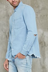 Forever 21 Distressed Denim Shirt Light Denim