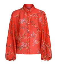 Alexis Floral Bell Sleeve Shirt Female Red