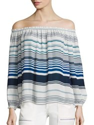 Joie Bamboo Stripe Printed Off The Shoulder Silk Blouse Harbor Blue