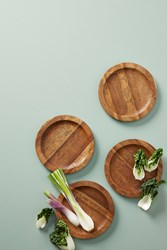 Anthropologie Etched Wood Canape Plate Set Assorted