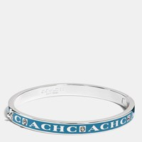 Coach Pave Hinged Enamel Bangle Silver Peacock