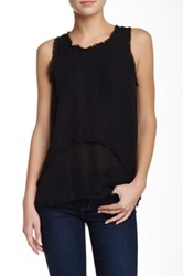 Madison Marcus Frayed Edge Hi Lo Silk Tank Black
