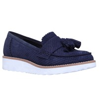 Carvela Limbo Wedge Heeled Loafers Navy Reptile